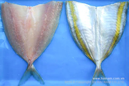 Yellow stripe trevally butterfly-cut<br />Latin name: Selaroides leptolepsis<br />Size: 5-6cm, 6-7cm, 7-8 cm, 8-9 cm